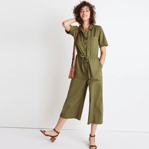 Madewell wide leg utility green jumpsuit